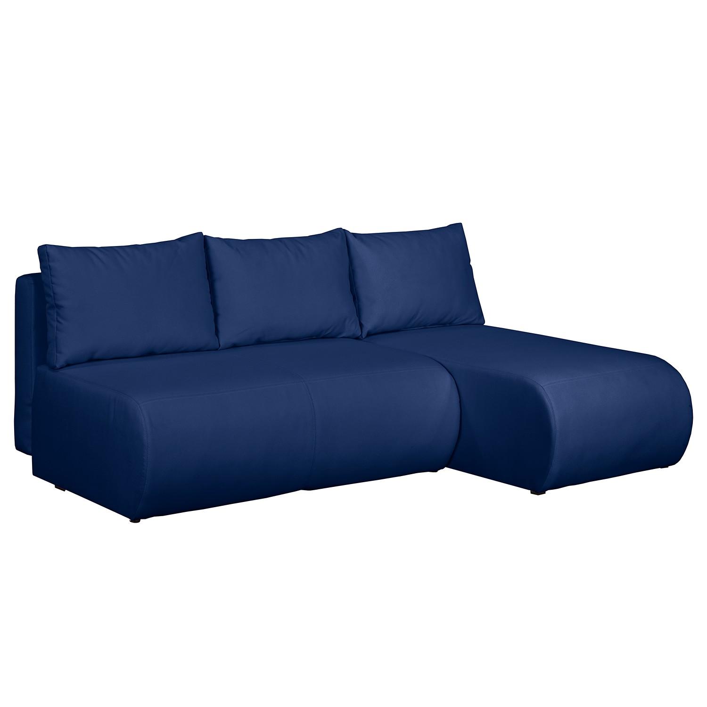home24 mooved Ecksofa Rio Maria Meerblau Strukturstoff 197x75x148 cm (BxHxT) mit Schlaffunktion/Bettkasten Modern