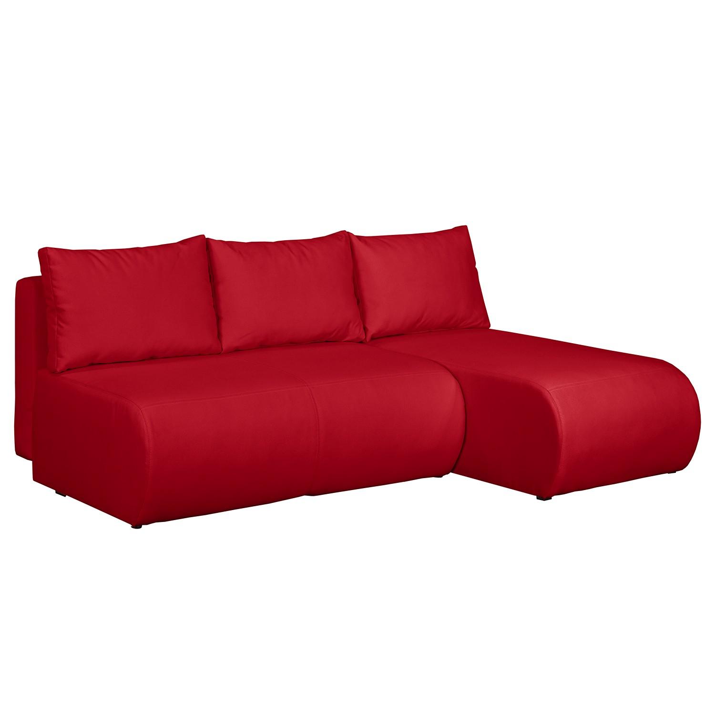 home24 mooved Ecksofa Rio Maria Rot Strukturstoff 197x75x148 cm (BxHxT) mit Schlaffunktion/Bettkasten Modern