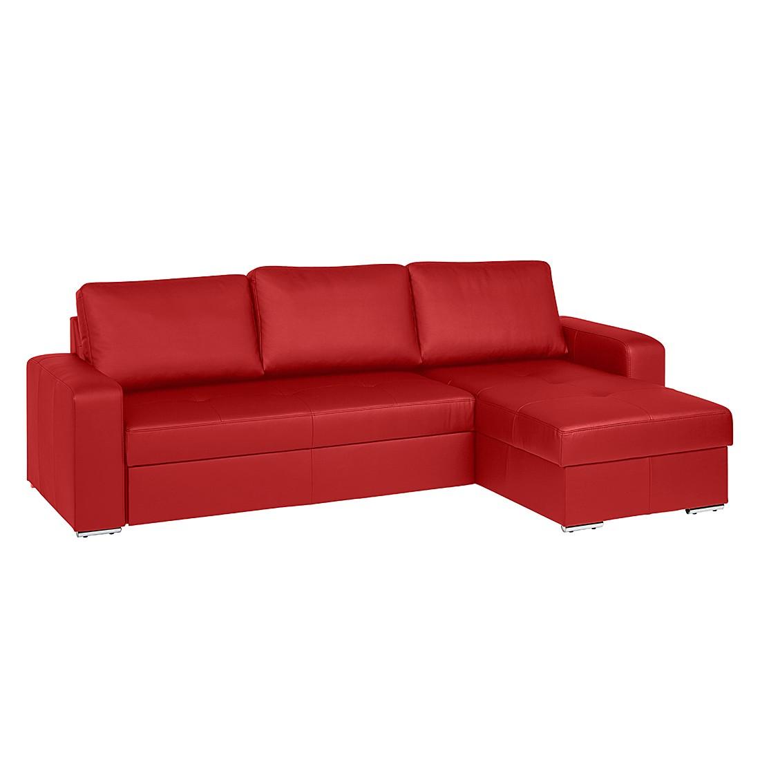 home24 Fredriks Ecksofa Rosini I 3-Sitzer Rot Echtleder 270x90x163 cm (BxHxT) mit Schlaffunktion/Bettkasten Modern