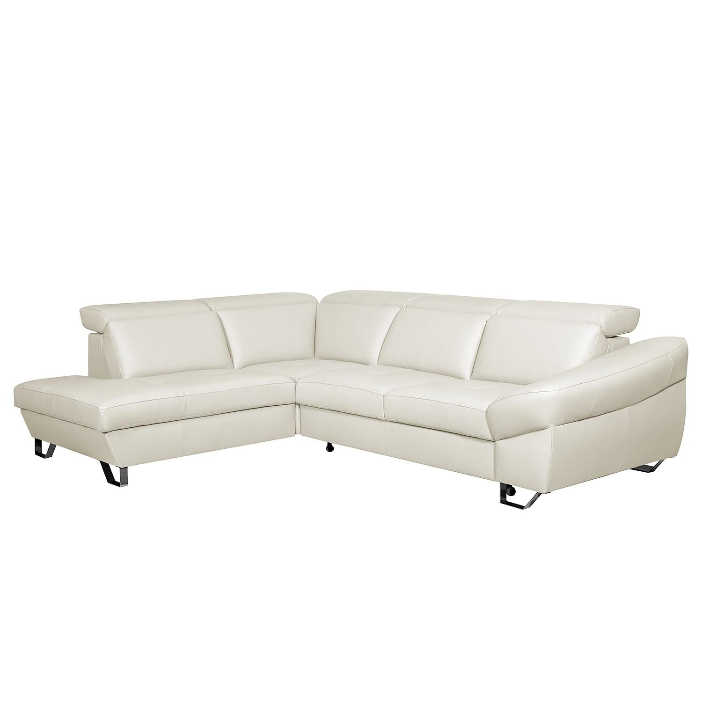 home24 Fredriks Ecksofa Saltia II Weiß Echtleder 280x81x218 cm mit Schlaffunktion und Bettkasten