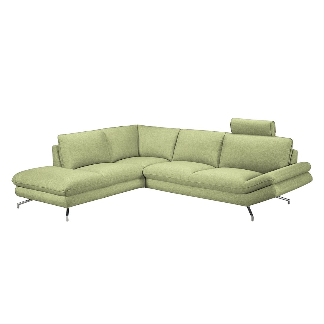 home24 loftscape Ecksofa Sharon 2,5-Sitzer Grün Webstoff 276x83x220 cm (BxHxT) Modern