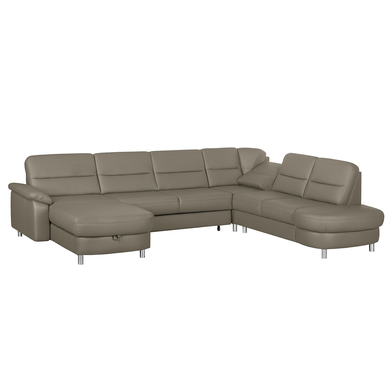 Canapé d'angle Songea - Cuir véritable / Imitation cuir - Méridienne à gauche (vue de face) - Avec fonction couchage - Avec fonction relaxation - Gris, Nuovoform