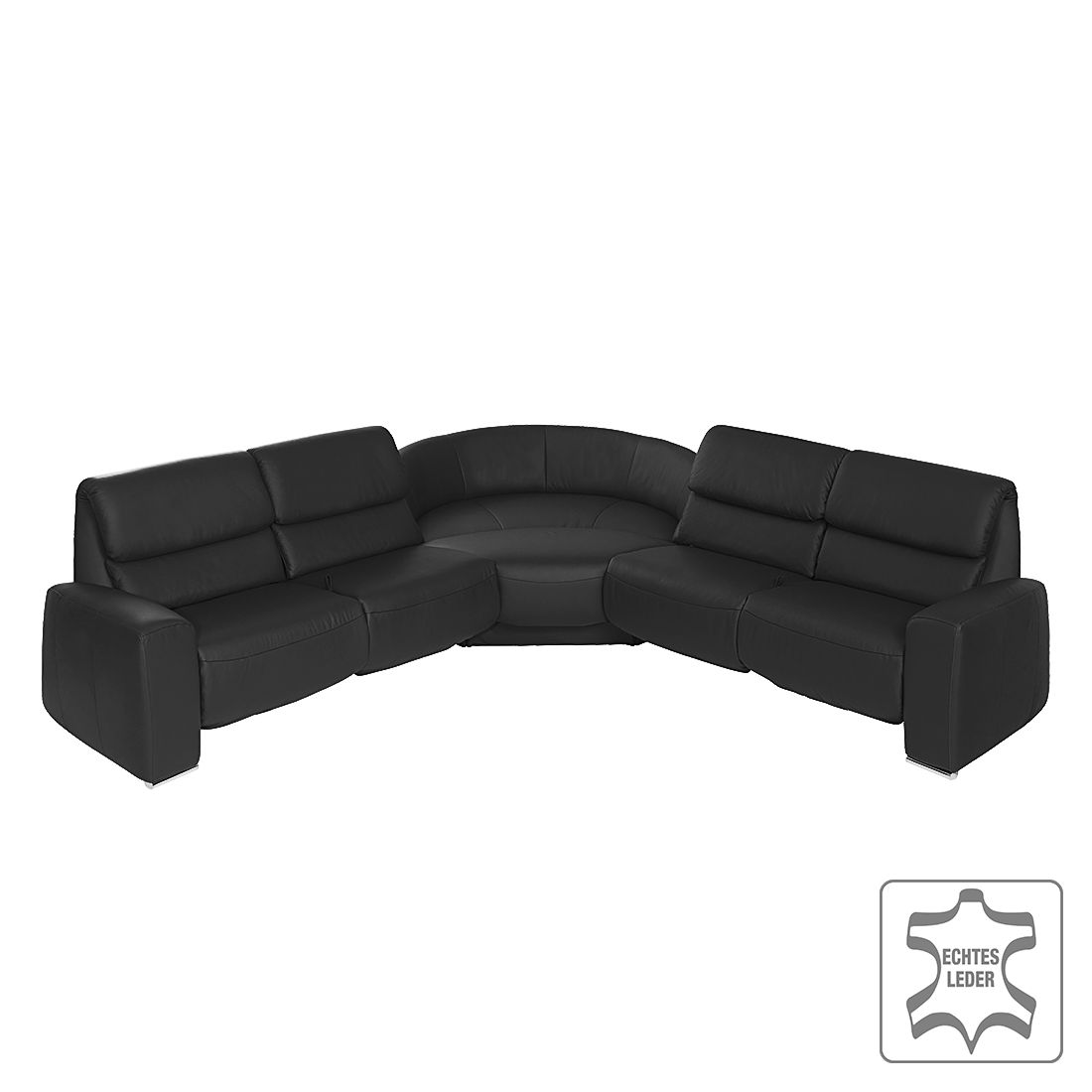 Canapé d'angle Space - Cuir véritable - Avec fonction relaxation - Noir, trendline by Ada