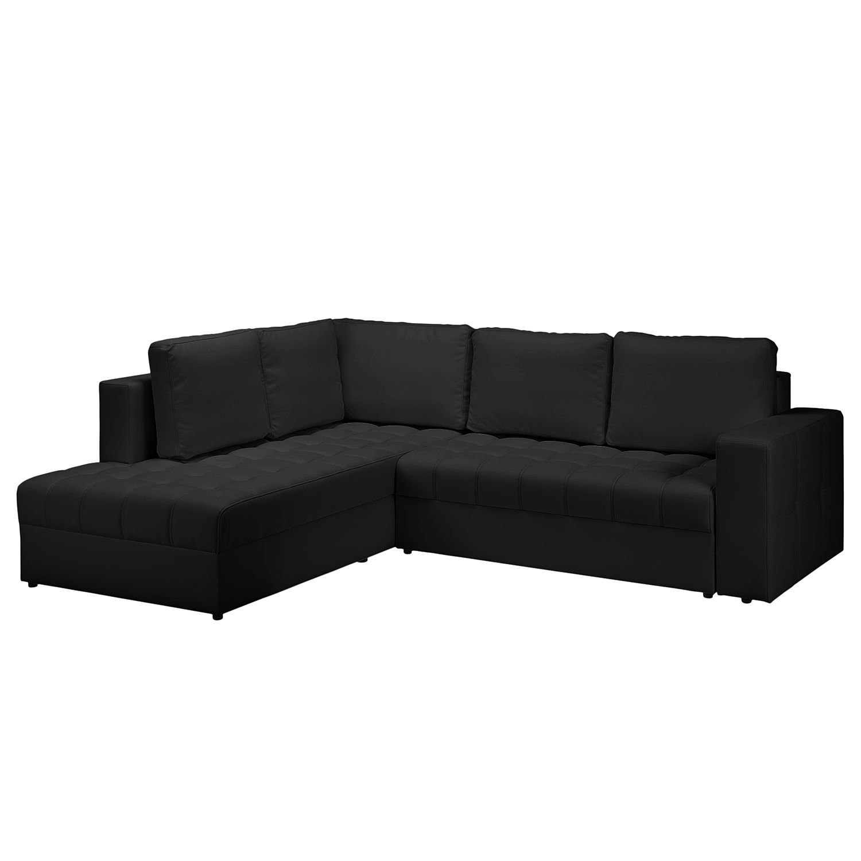 Canapé d'angle Wadena - Imitation cuir - Convertible - Courte à gauche (vue de face) - Noir, Fredriks