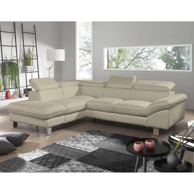 home24 Cotta Ecksofa Waiho II Warmes Beige Echtleder 266x73x214 cm (BxHxT) mit Schlaffunktion/Bettkasten Modern