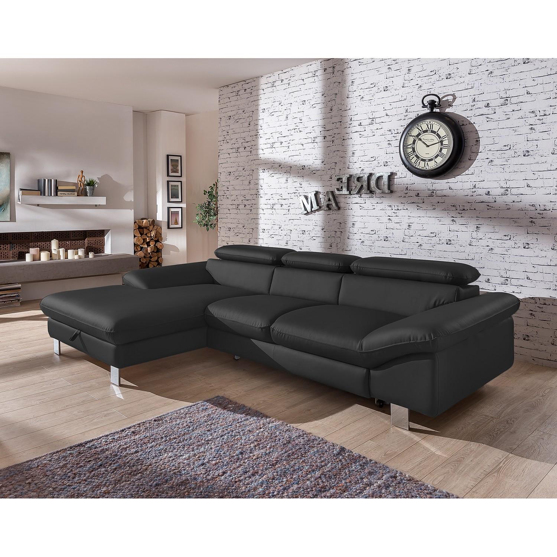 home24 Cotta Ecksofa Waiho Schwarz Kunstleder 268x73x169 cm (BxHxT) mit Schlaffunktion/Bettkasten Modern