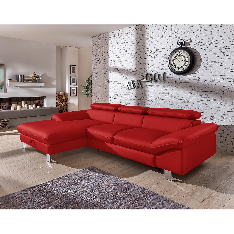 home24 Cotta Ecksofa Waiho Zinnober Kunstleder 268x73x169 cm (BxHxT) mit Schlaffunktion/Bettkasten Modern