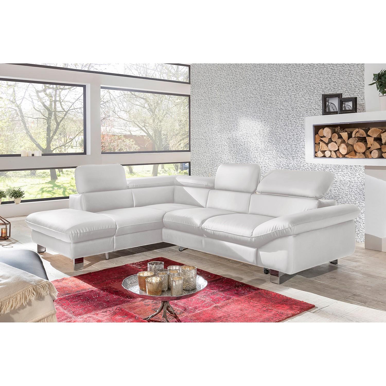 home24 Cotta Ecksofa Waiho Weiß Kunstleder 266x91x214 cm (BxHxT) mit Schlaffunktion/Bettkasten Modern