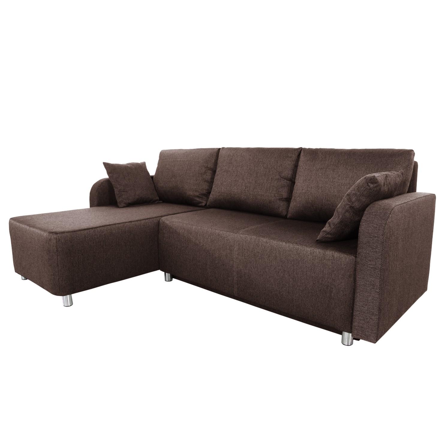 goedkoop Hoekbank Tetony met slaapfunctie microvezelstof longchair aan beide zijkanten monteerbaar Bruin Home Design