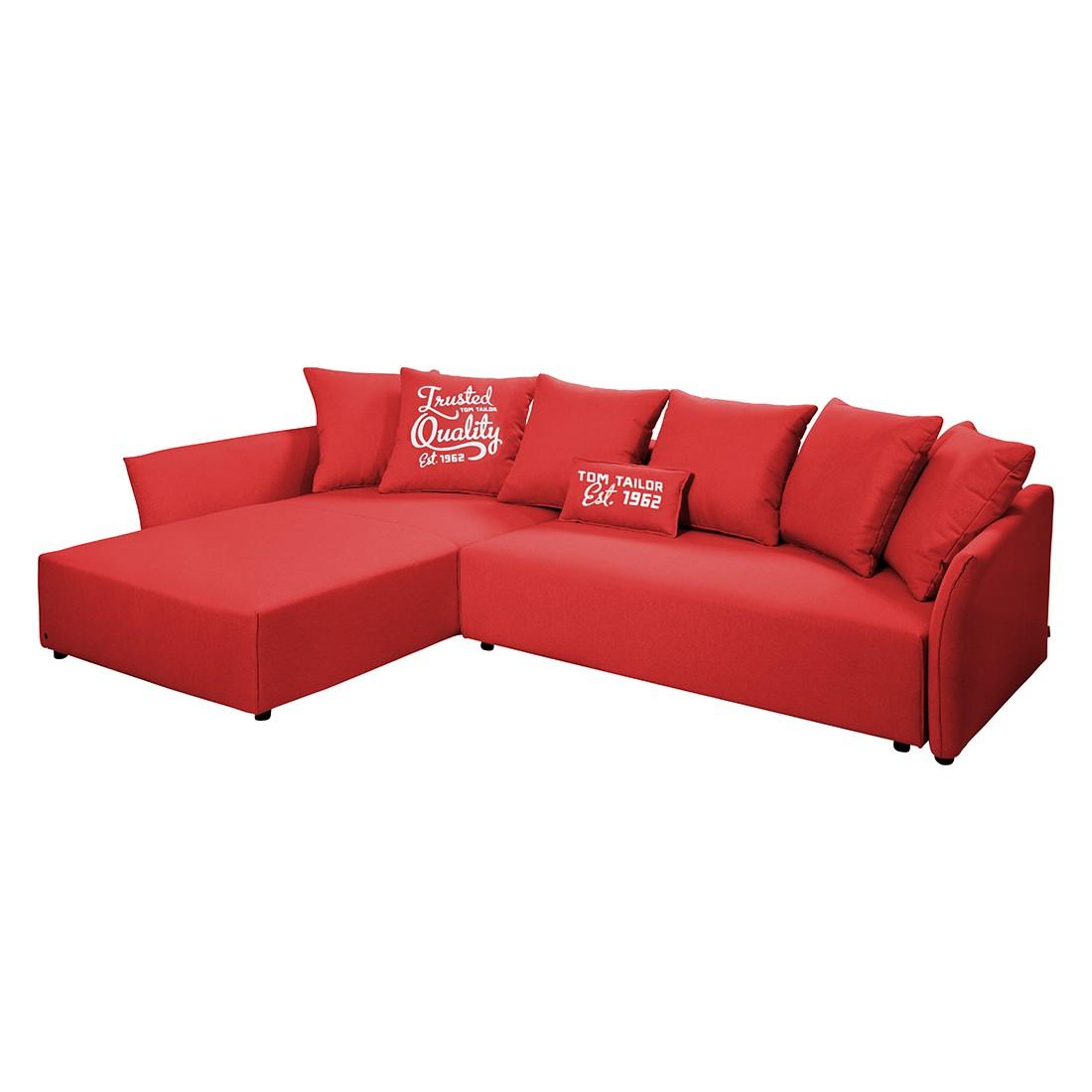 goedkoop Hoekbank Wings Casual met slaapfunctie structuurstof longchair vooraanzicht links Rood 7 kussen Tom Tailor