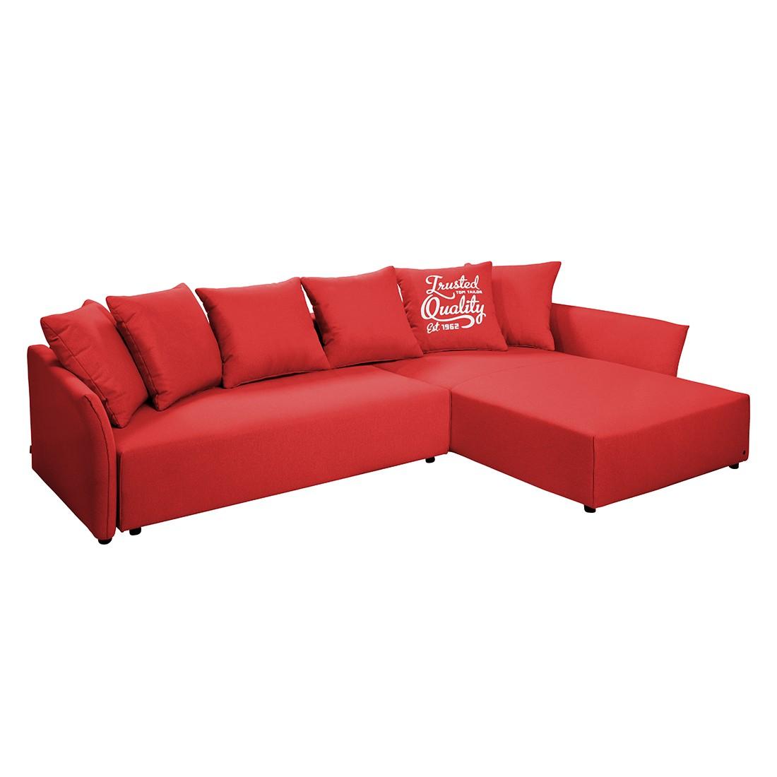 goedkoop Hoekbank Wings Casual met slaapfunctie structuurstof longchair vooraanzicht rechts Rood 6 kussen Tom Tailor