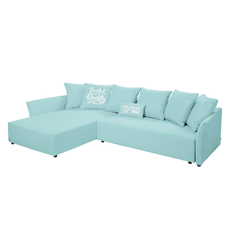 goedkoop Hoekbank Wings Casual met slaapfunctie structuurstof longchair vooraanzicht links Hemelsblauw 7 kussen Tom Tailor