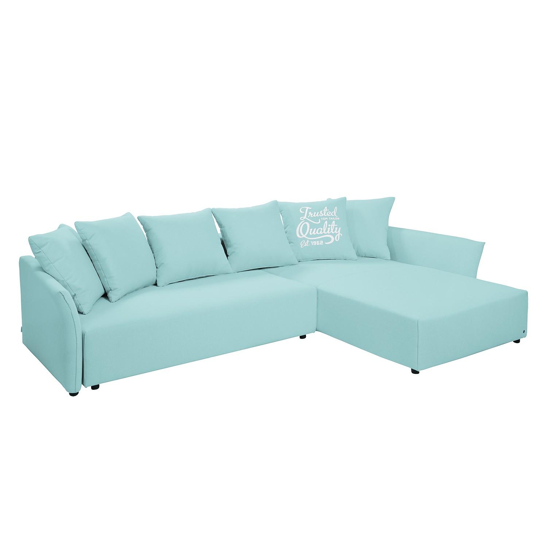 goedkoop Hoekbank Wings Casual met slaapfunctie structuurstof longchair vooraanzicht rechts Hemelsblauw 6 kussen Tom Tailor