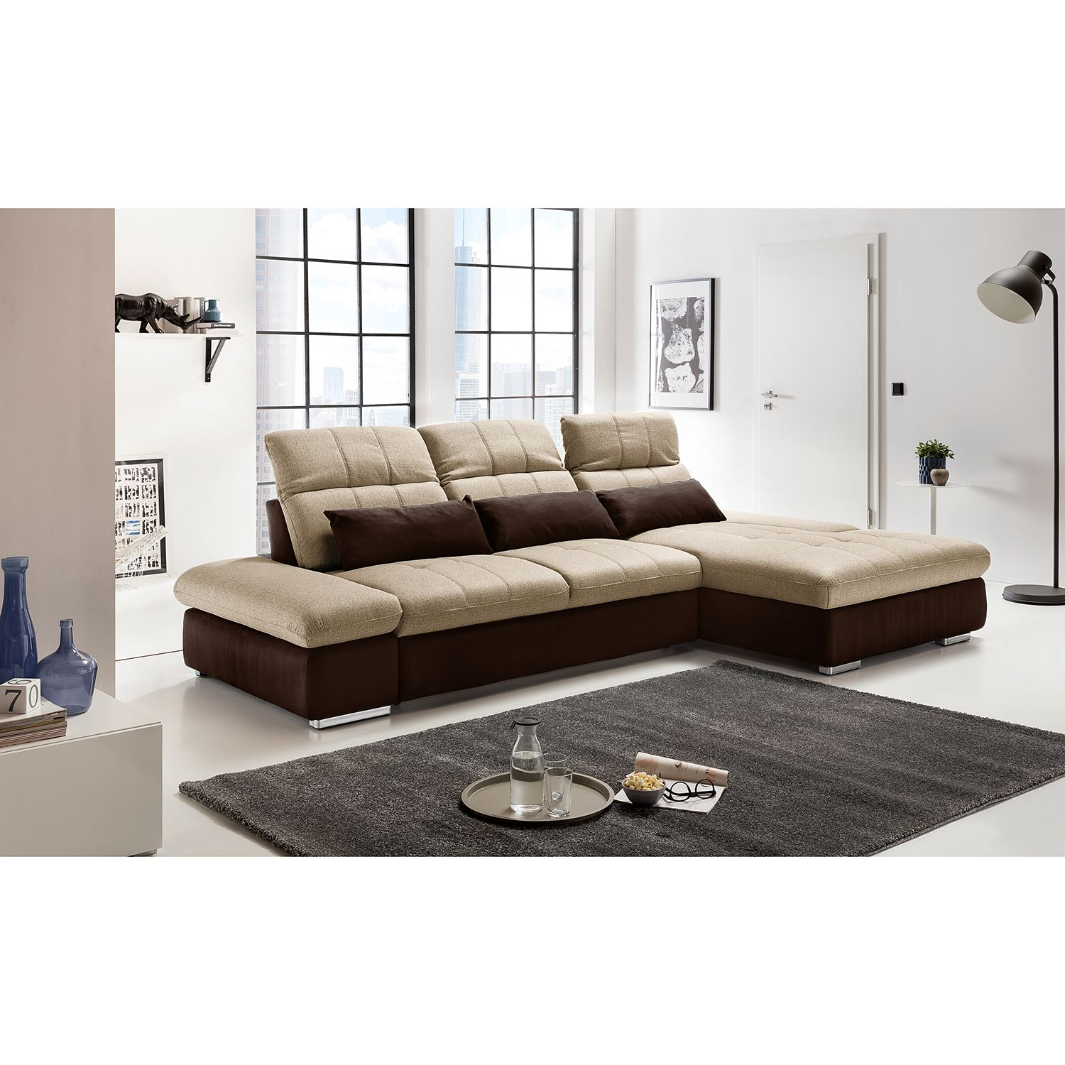 home24 Ecksofa Wonder Microfaser / Webstoff