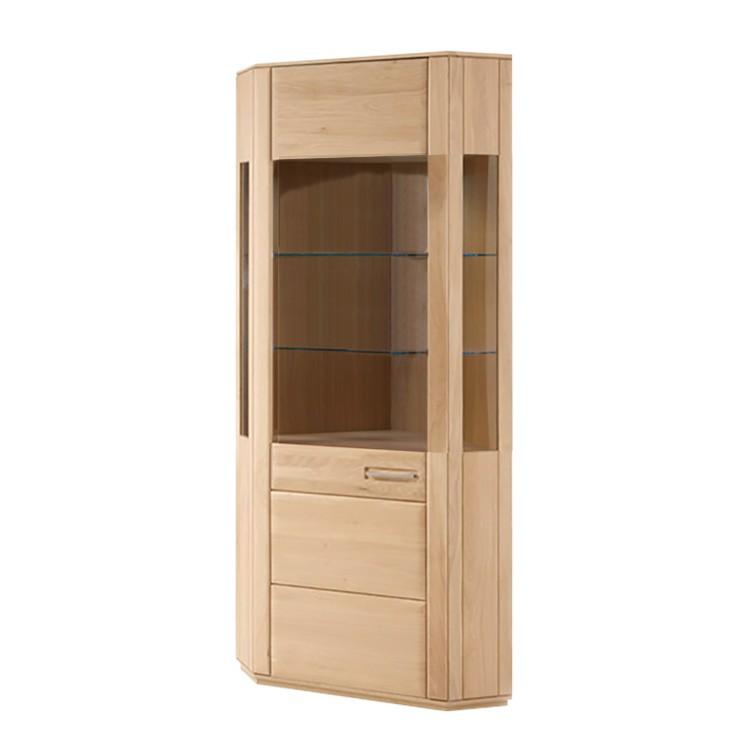 home24 Eckvitrine Structura | Wohnzimmer > Vitrinen > Eckvitrinen | Beige | Holz teilmassiv - Holzwerkstoff | Naturoo