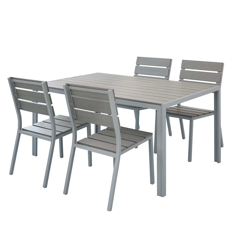 Essgruppe Kudo IX (5-teilig) | Küche und Esszimmer > Essgruppen | Grau | Kunststoff - Metall | Jardi