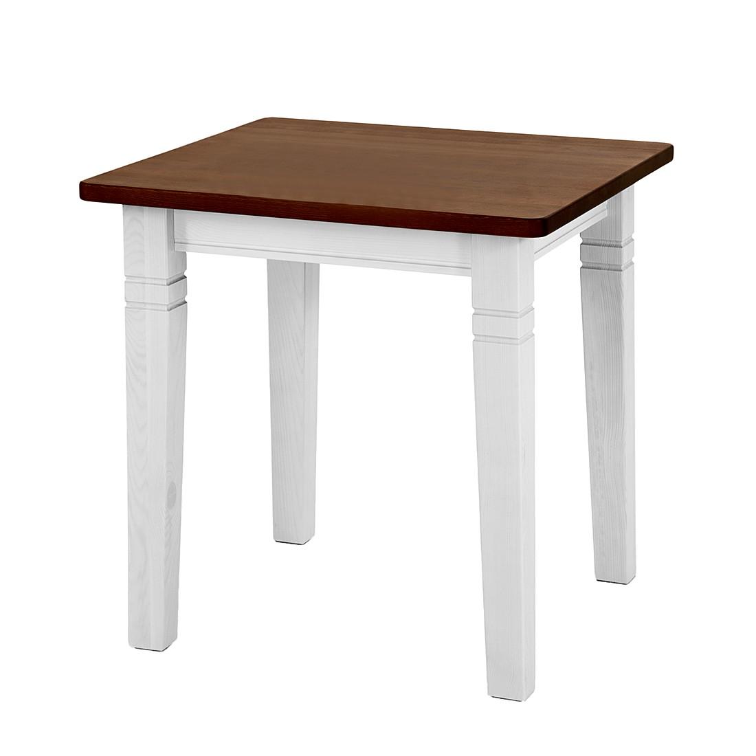 Tavolo da pranzo Fjord I - Legno massello di pino bianco/ambrato - Con 2 piani prolunga, Maison Belfort