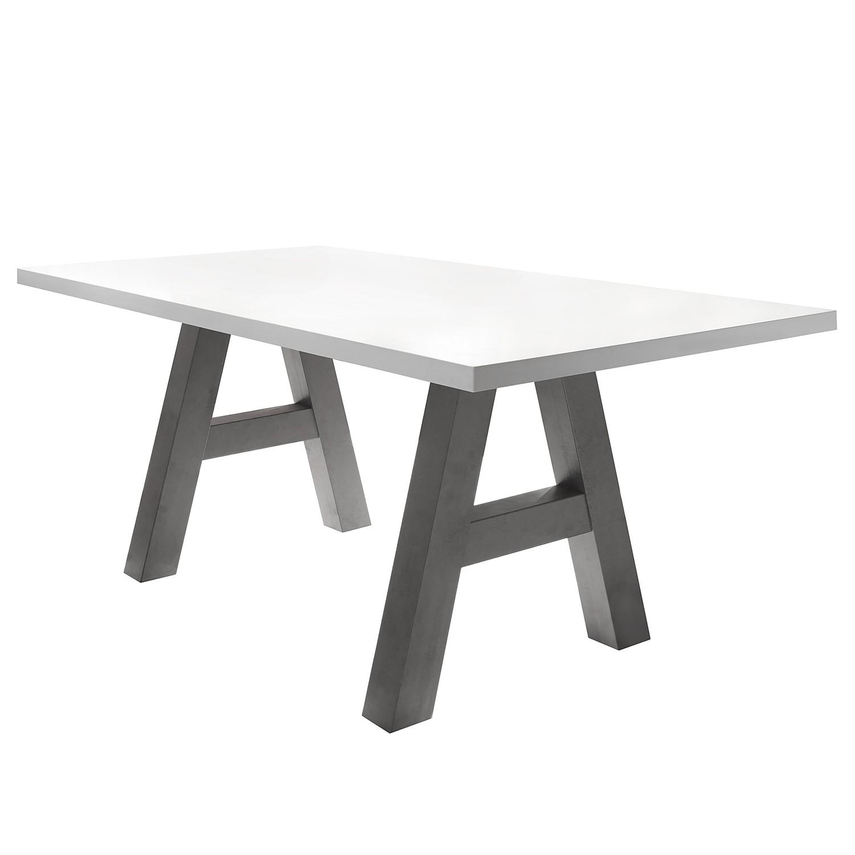 Table à manger Leeton l - Blanc mat - 180 x 90 cm, mooved