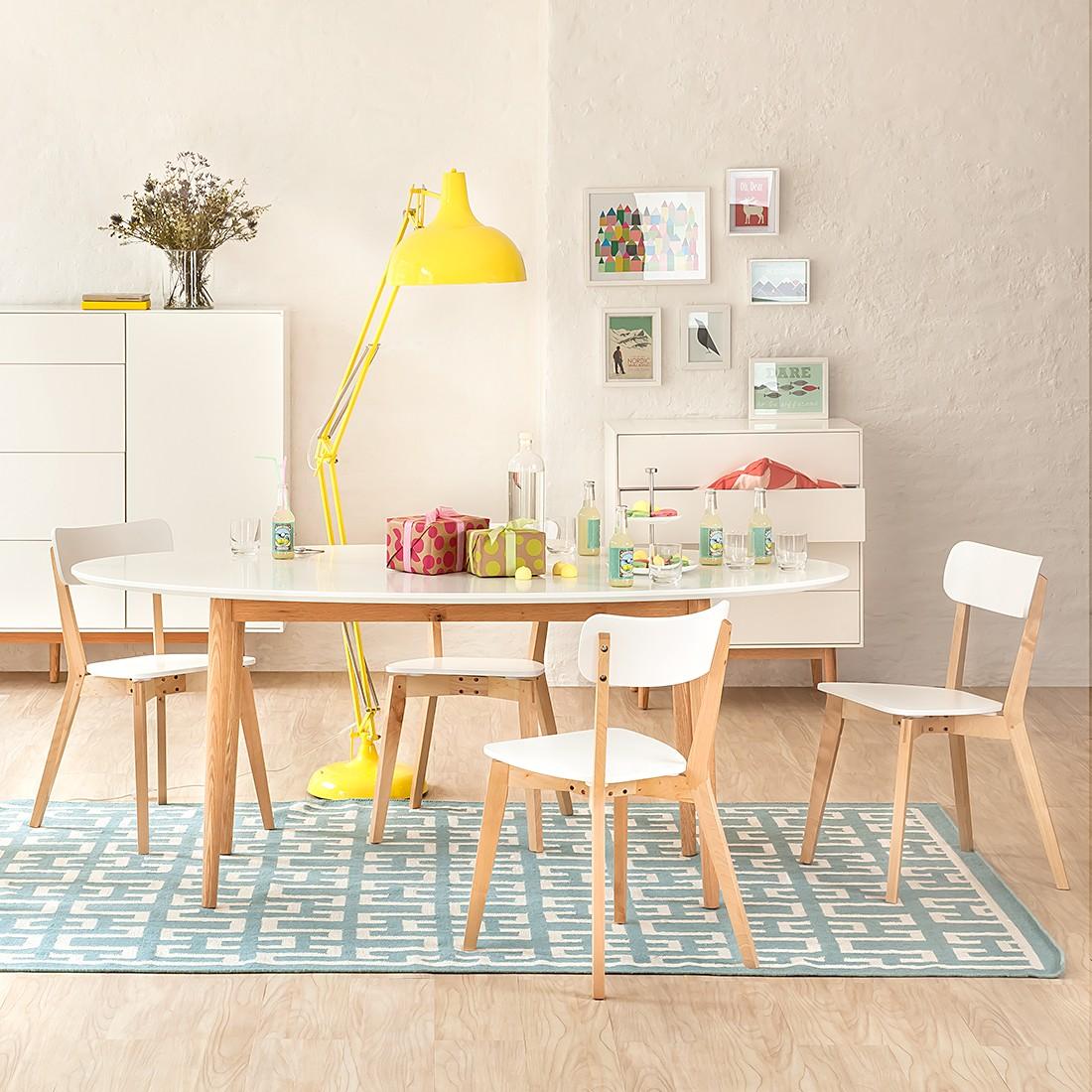 Lindholm Möbel esstisch lindholm weiß dekor eiche massiv home24