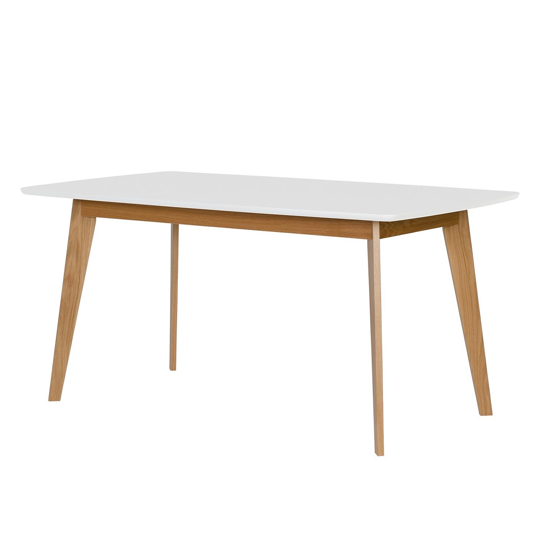 Table de salle à manger Nante - Chêne partiellement massif - Blanc / Chêne - 160 x 90 cm, Morteens