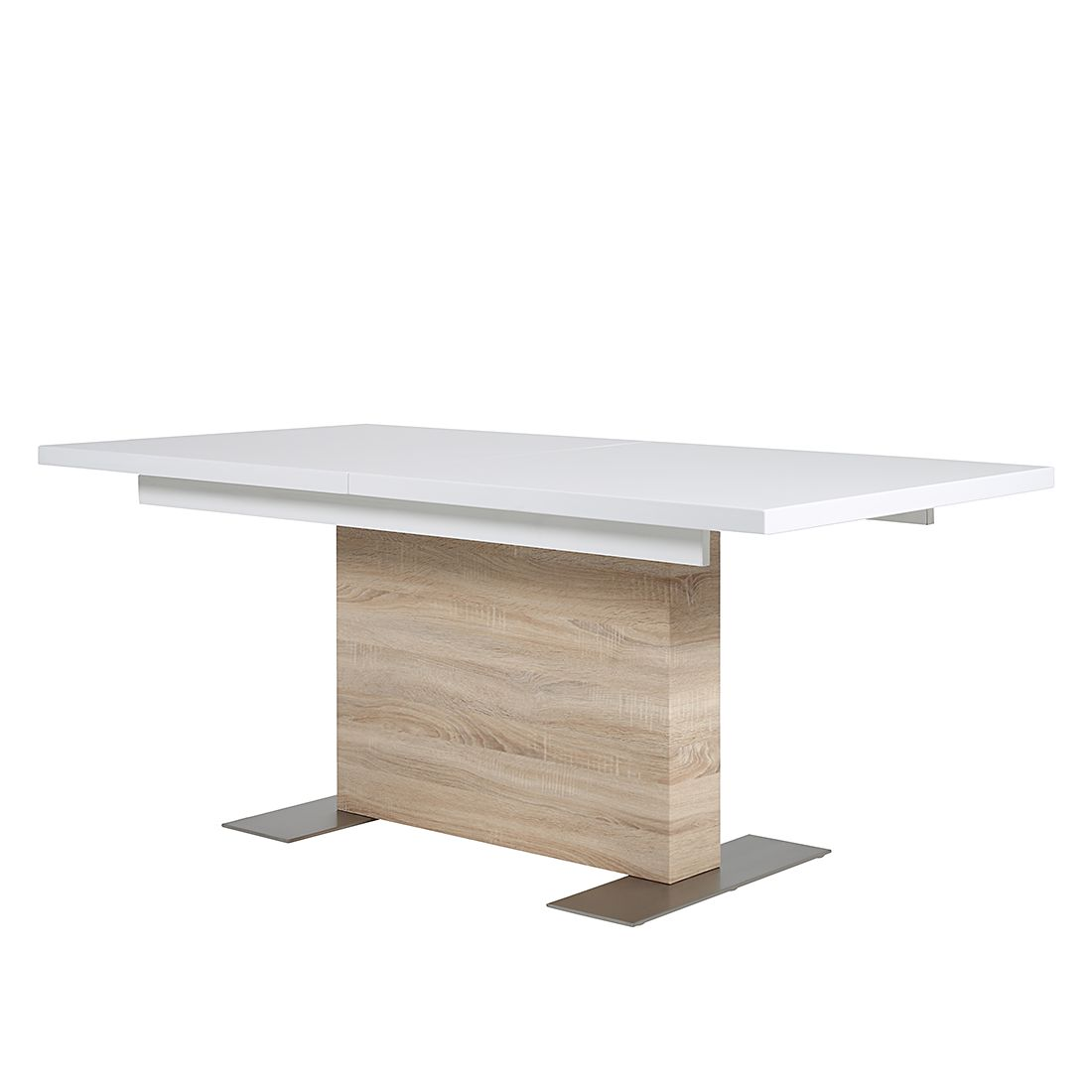 Table à manger Rick (extractible) - Blanc brillant / Imitation chêne de Sonoma, Fredriks