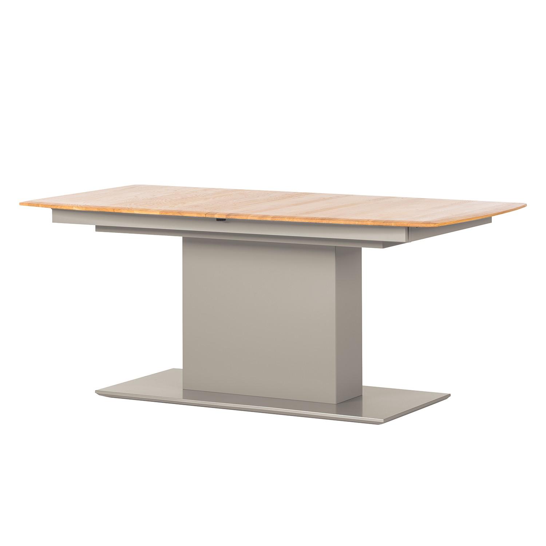 Table à manger Solano - Chêne noueux / Gris platine - Avec rallonge centrale et plateaux insérés, Netfurn by GWINNER