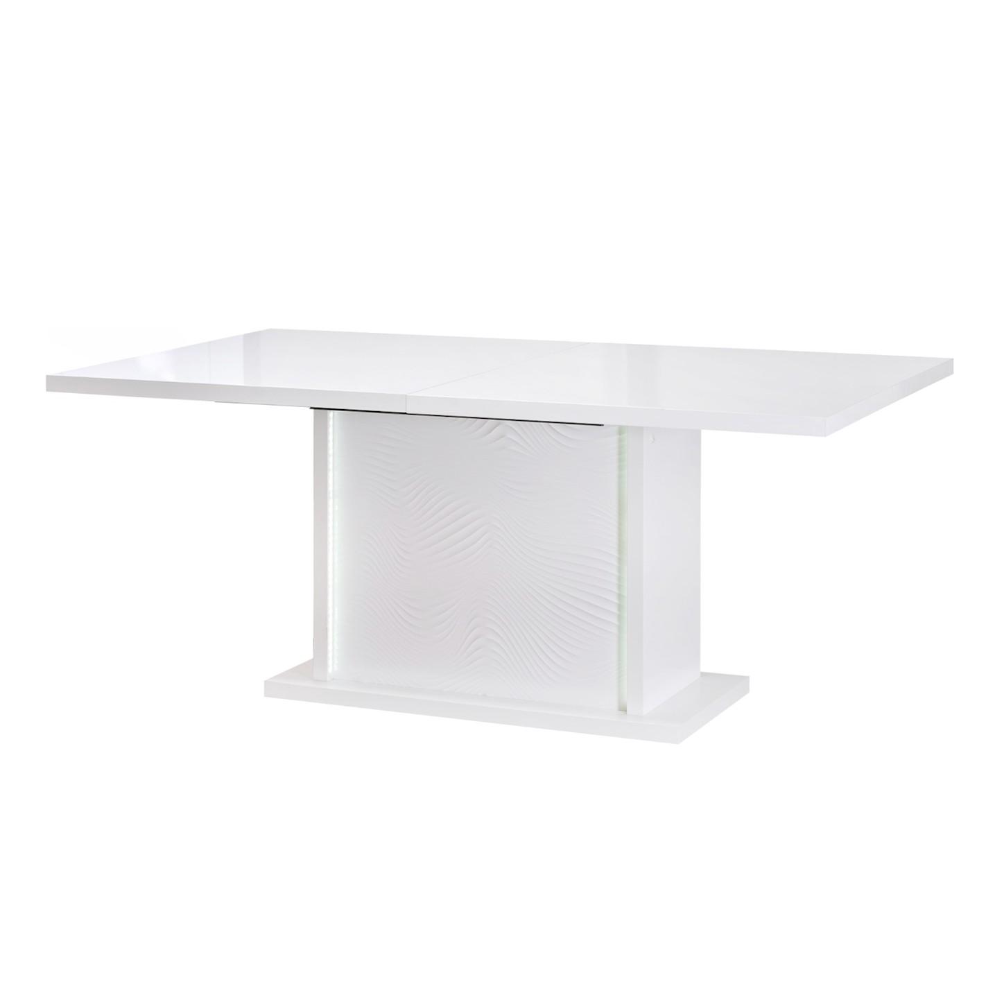 EEK A+, Table à manger Karma (avec rallonges et éclairage) - Blanc brillant, Sciae