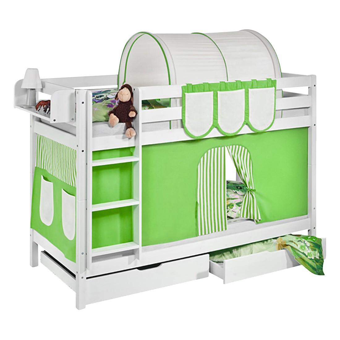 home24 Etagenbett JELLE Gruen Beige | Kinderzimmer > Kinderbetten > Etagenbetten | Weiss | Massivholz | Lilokids