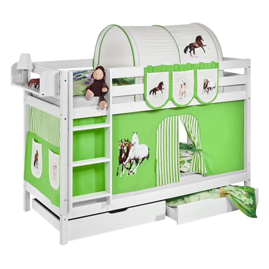 home24 Etagenbett JELLE Pferde Gruen | Kinderzimmer > Kinderbetten | Weiss | Massivholz | Lilokids