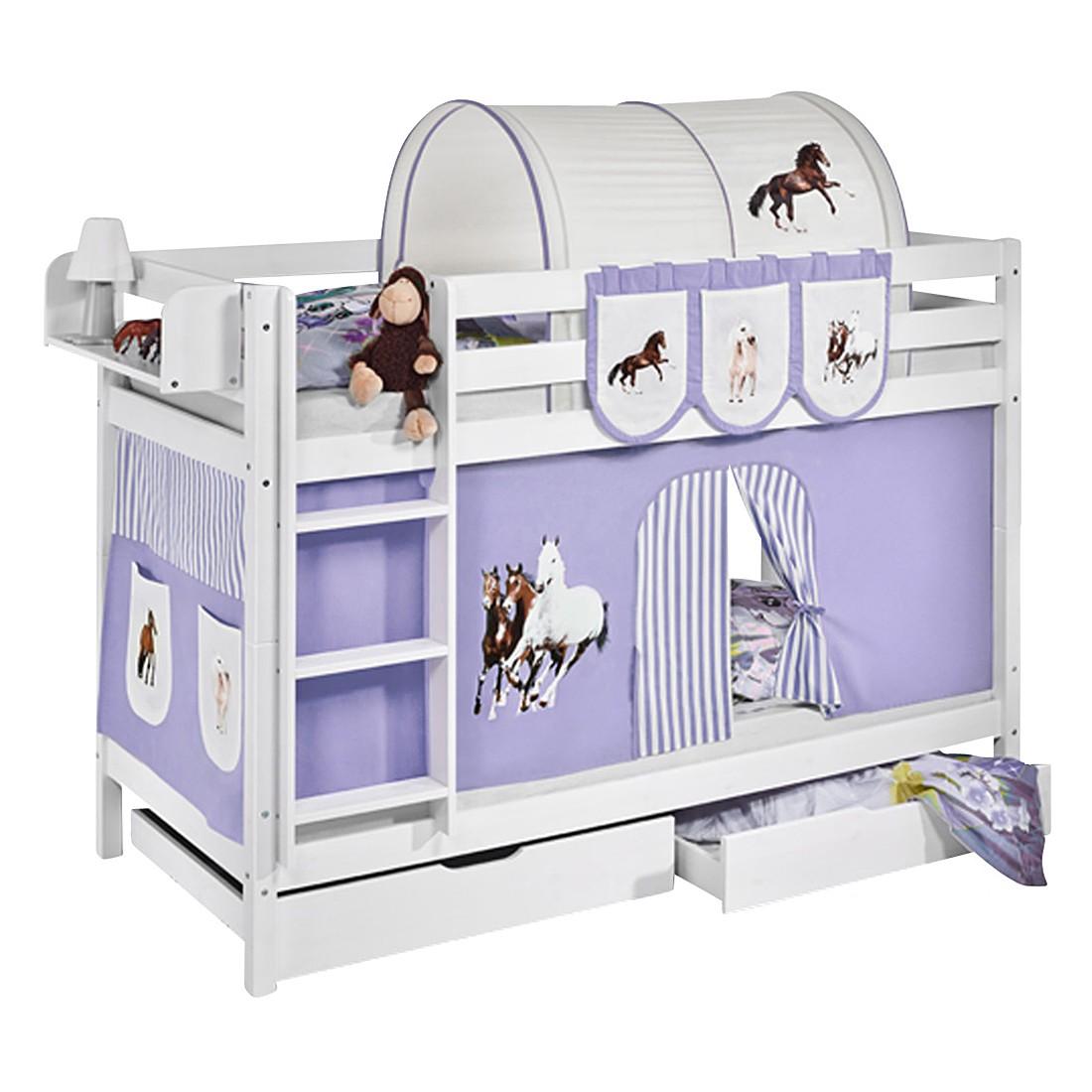 home24 Etagenbett JELLE Pferde Lila | Kinderzimmer > Kinderbetten > Etagenbetten | Weiss | Lilokids