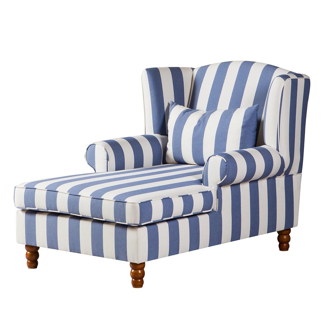 goedkoop Oorfauteuil Sofia XXL geweven stof blauw wit Maison Belfort