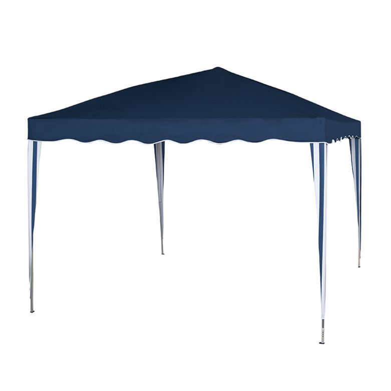 Faltpavillon Azul - Aluminium/Polyester - Silber/Blau-Weiß, Siena Garden