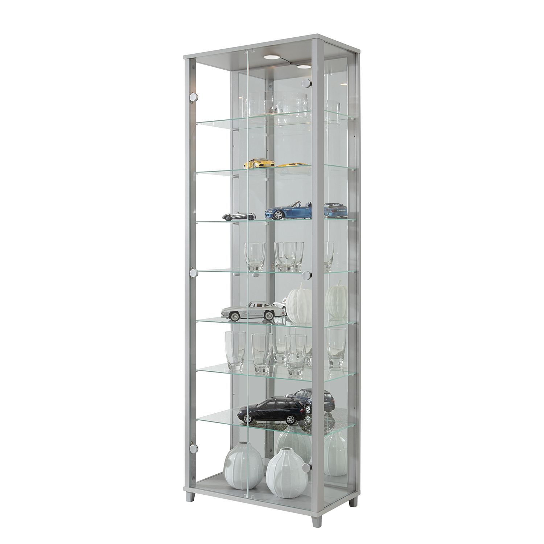 home24 Vitrinenschrank Exhibit (inkl. Beleuchtu | Wohnzimmer > Schränke > Weitere Schränke | Grau | Glas - Holzwerkstoff | Fredriks