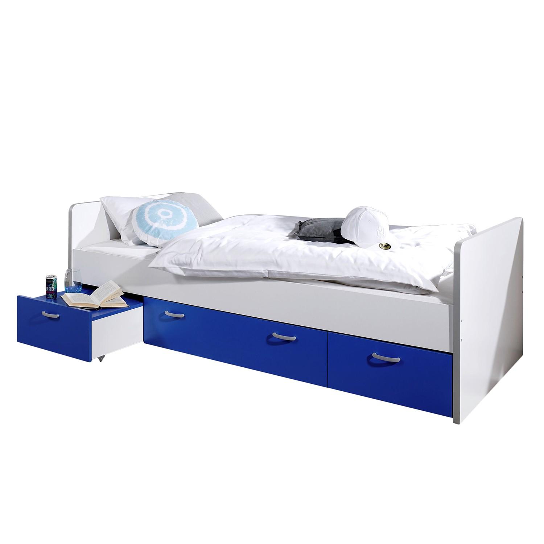 Funktionsbett Bonny - 90 x 200cm - 3 Bettkästen - Weiß / Blau, Relita