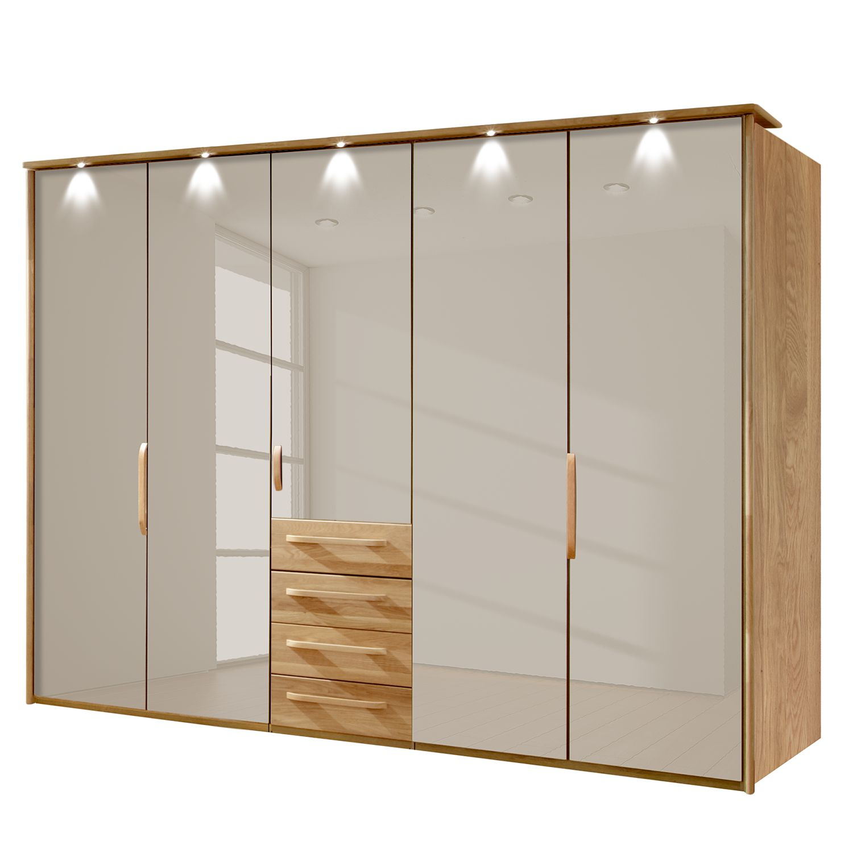 goedkoop energie A+ Kledingkast Torino deels massief eikenhout LED verlichting 250cm 5 deurs Saharakleurig Met verlichte Passe partout lijst Wiemann