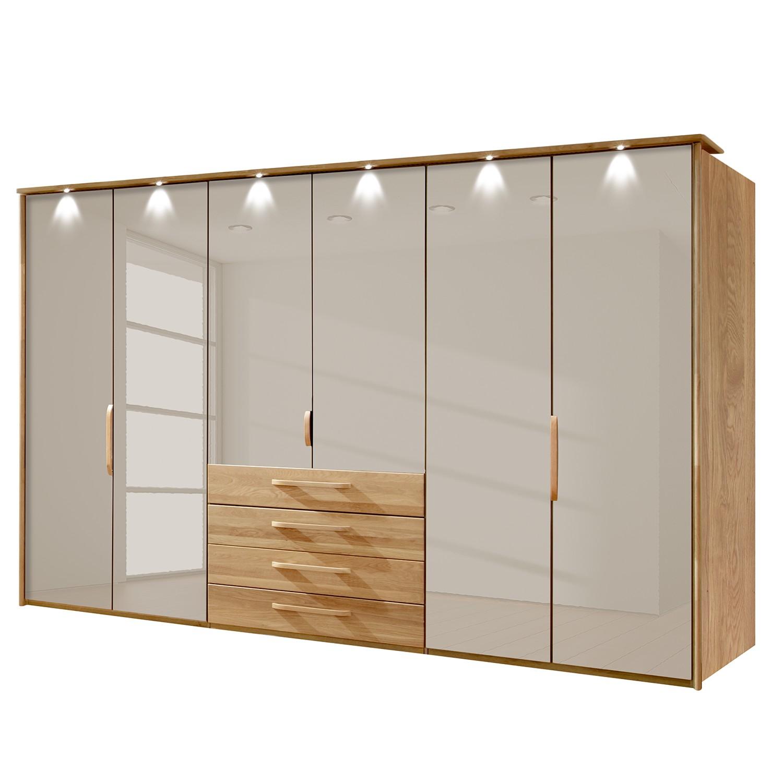 goedkoop energie A+ Kledingkast Torino deels massief eikenhout LED verlichting 300cm 6 deurs Saharakleurig Met verlichte Passe partout lijst Wiemann