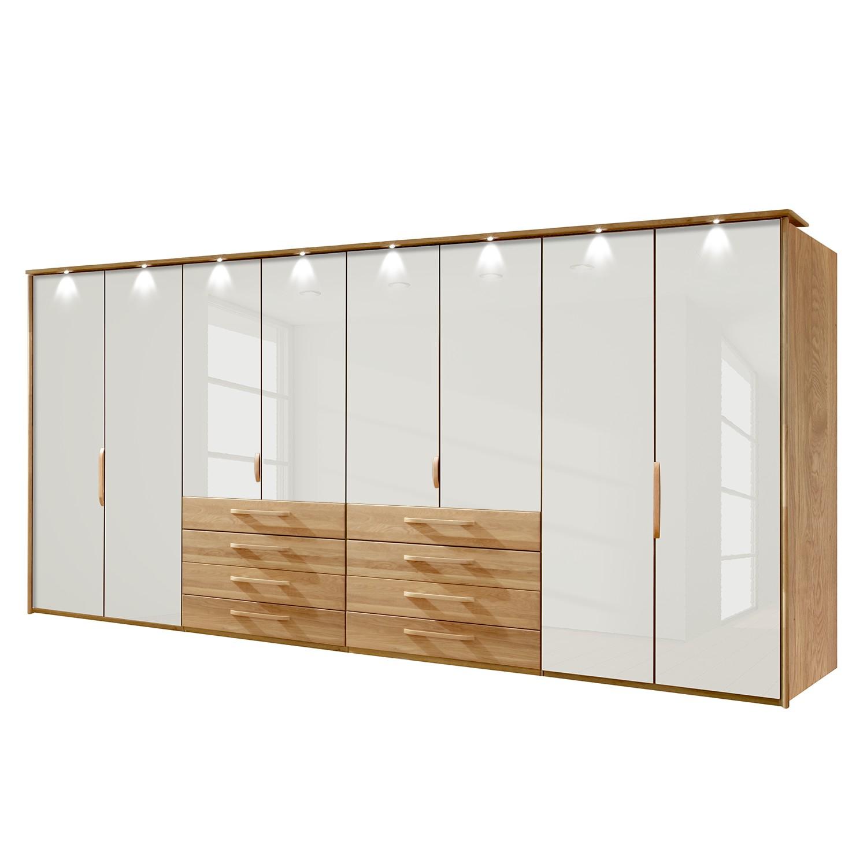 goedkoop energie A+ Kledingkast Torino deels massief eikenhout LED verlichting 400cm 8 deurs Magnolia Met verlichte Passe partout lijst Wiemann