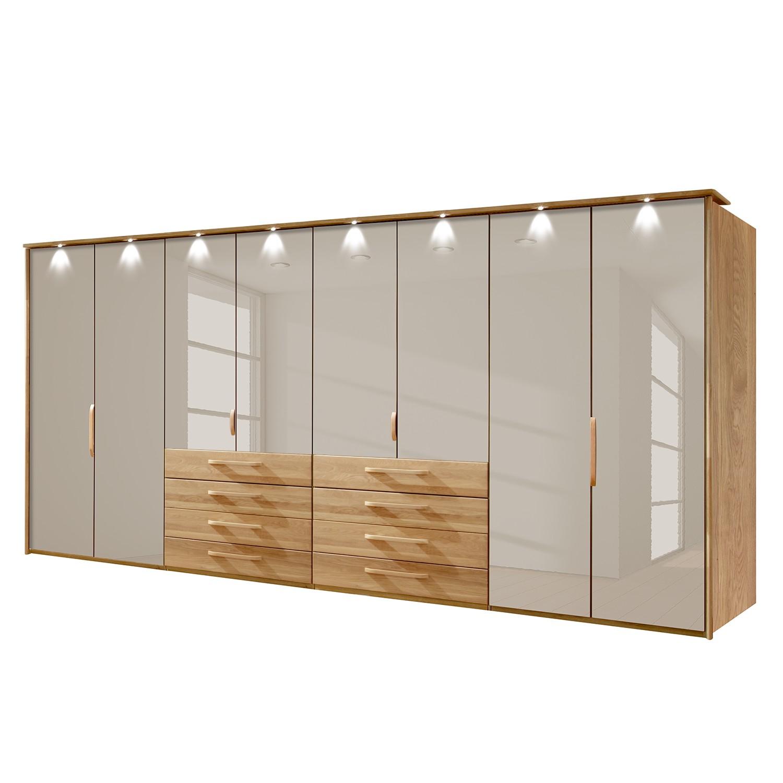 goedkoop energie A+ Kledingkast Torino deels massief eikenhout LED verlichting 400cm 8 deurs Saharakleurig Met verlichte Passe partout lijst Wiemann