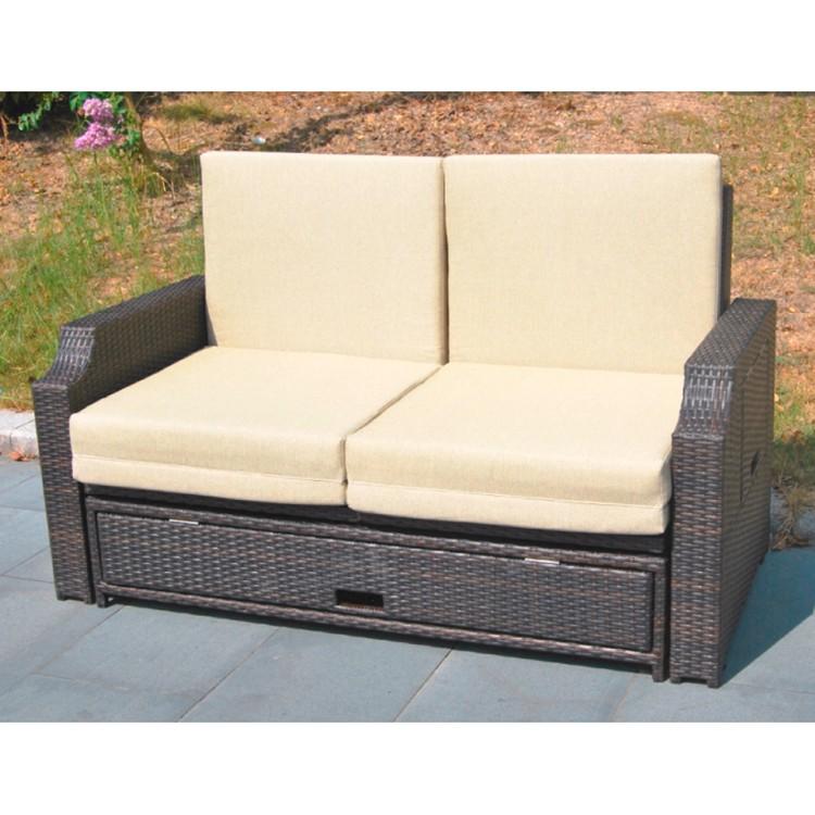 Funktionssofa Vence (2-Sitzer) - Polyrattan Braun - Inkl. Polsterkissen - Mit Schutzhülle, Garden Pleasure