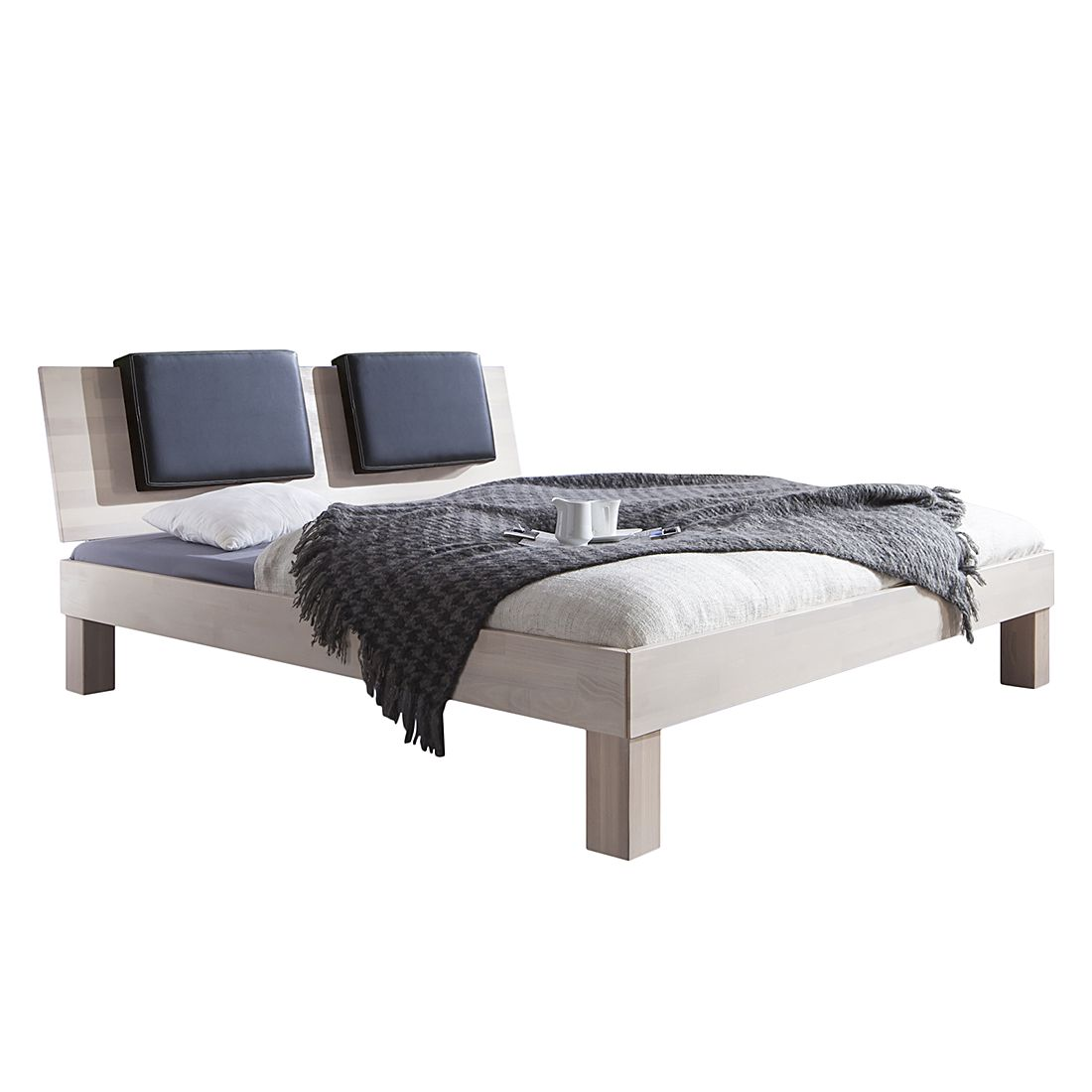 Massivholzbett Max (optional Bettkästen) - 90 x 200cm - Kein Bettkasten - Buche Weiß gewischt, Relita