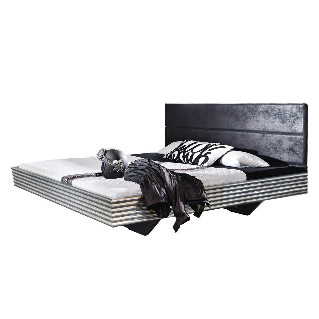 goedkoop Bed Workbase I zilveren plaat zwart Buffalo kunstleer 160 x 200cm Rauch Select