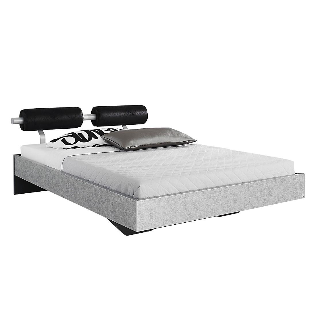 goedkoop Bed Workbase IV zilveren plaat zwart Buffalo kunstleer 160 x 200cm Rauch Select