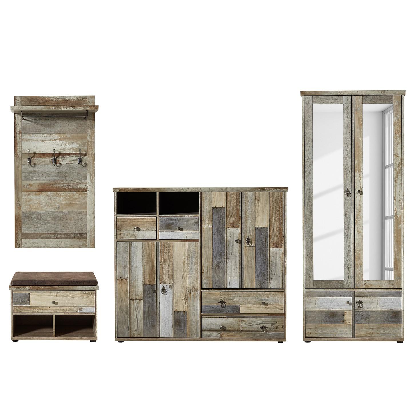 home24 Garderobenset Tapara I (4-teilig) | Flur & Diele > Garderoben | Braun | Holzwerkstoff | Red Living