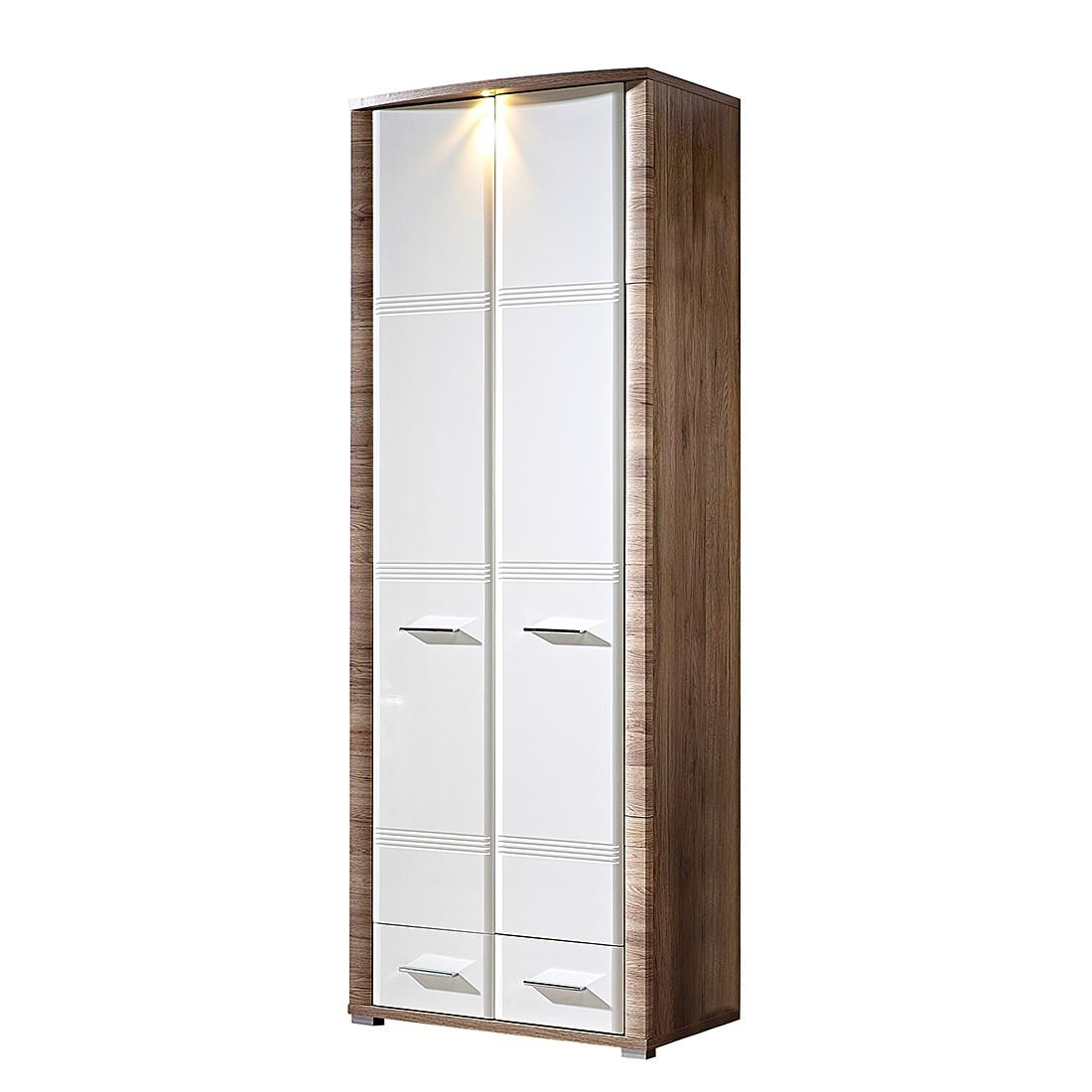goedkoop energie A+ Garderobekast Skanderborg lI hoogglans wit eikenhouten look Fredriks