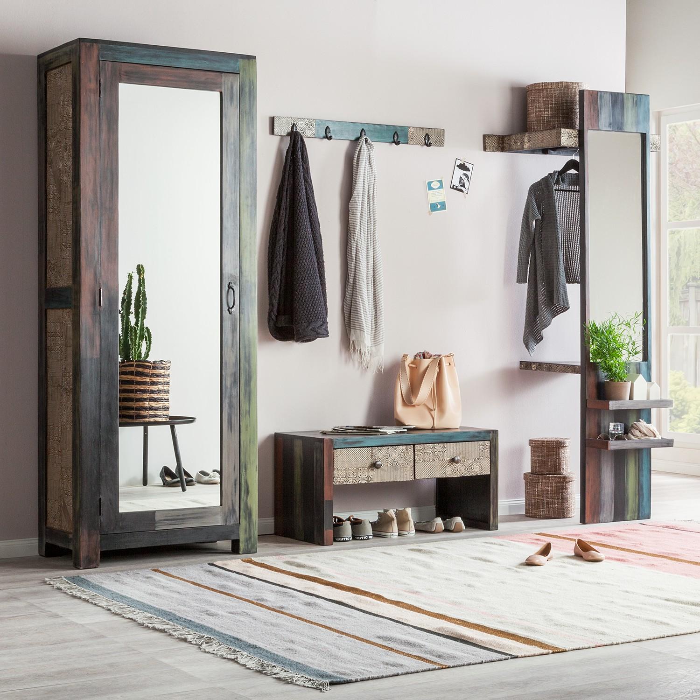 home24 Garderobenset Goa II (4-teilig) | Flur & Diele > Garderoben > Garderoben-Sets | Braun | Holz - Teilmassiv | Wolf-Moebel