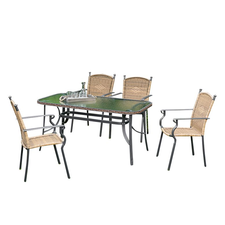 Gartenessgruppe Roma II (5-teilig) - Aluminium / Polyrattan, Merxx