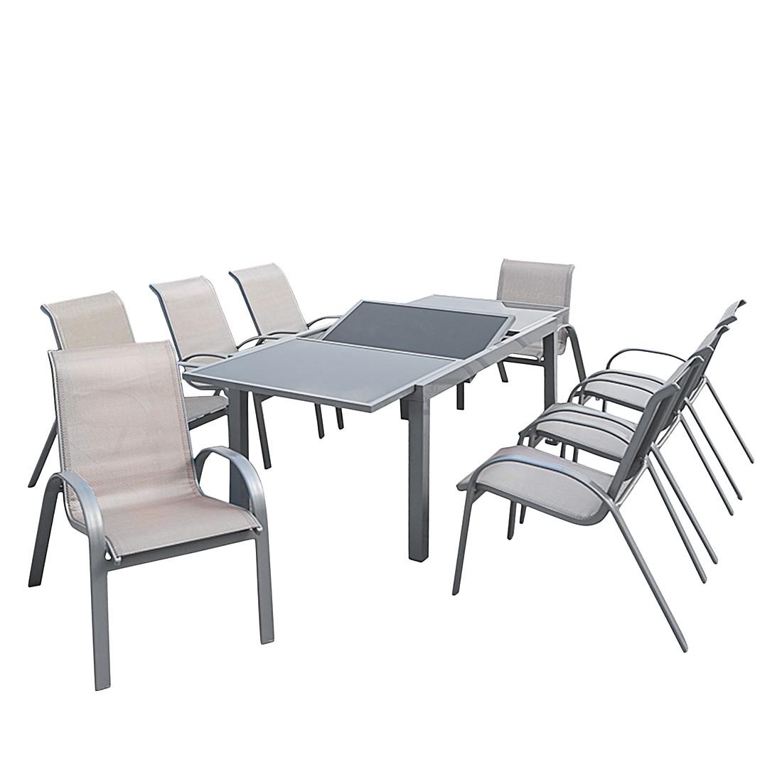 home24 Gartenessgruppe Amalfi I (9-teilig)   Garten > Gartenmöbel > Gartenmöbel-Set   Braun   Glas - Metall   Merxx