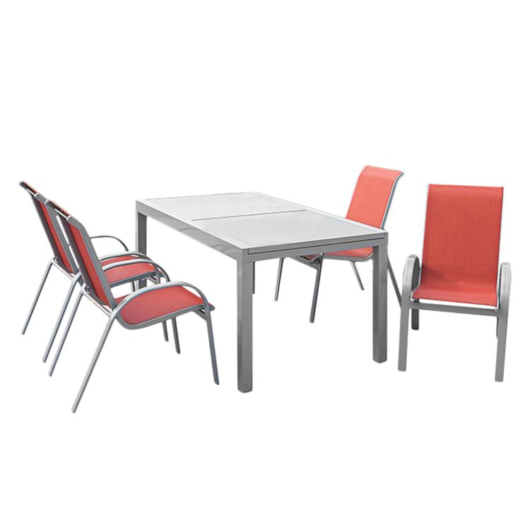 Gartensitzgruppe Amalfi II (5-teilig) - Aluminium Silber/Kunstfasergewebe Terracotta, Merxx