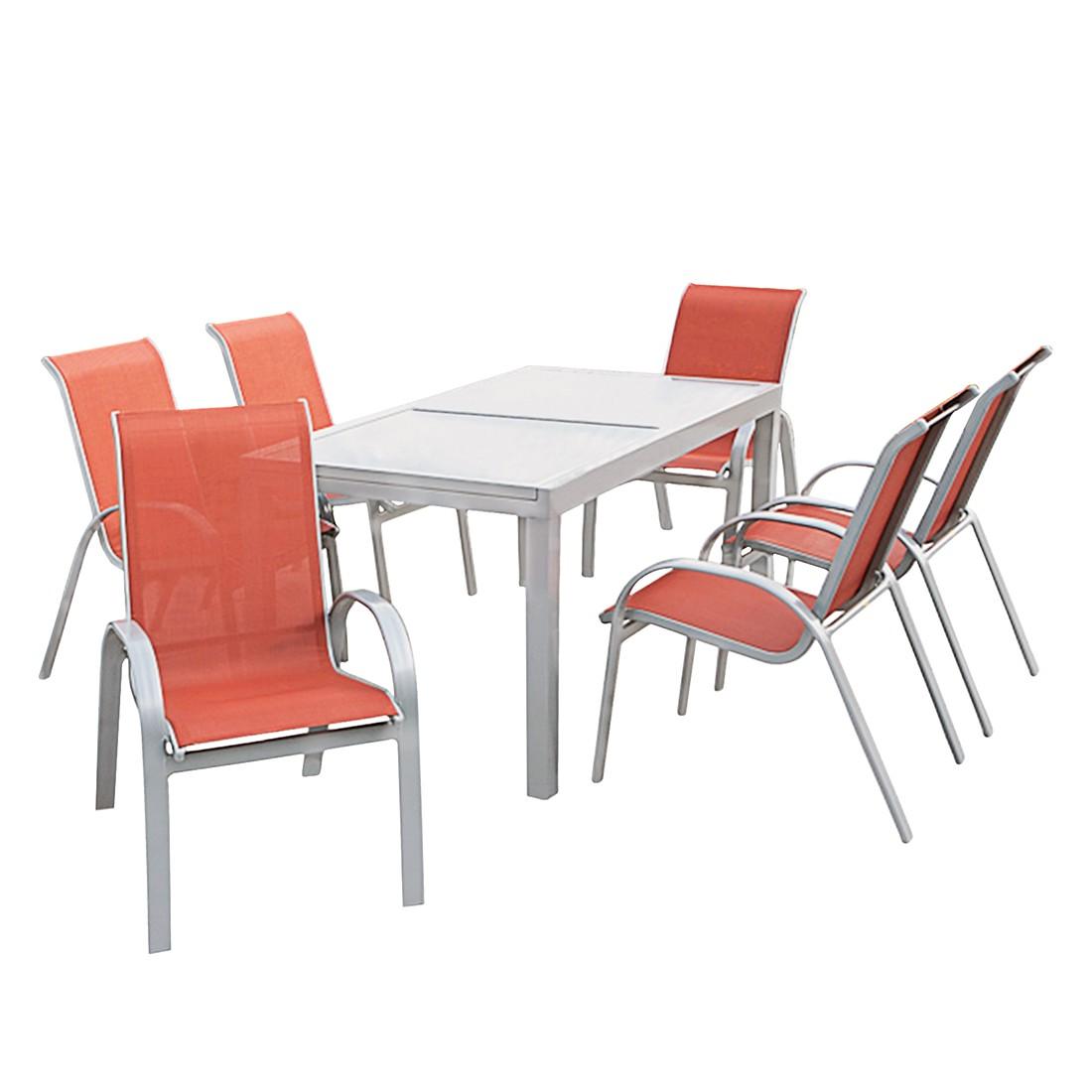 Essgruppe Amalfi II (7-teilig) - Aluminuim Silber/Kunstfasergeweb bei Home24 - Gartenmöbel