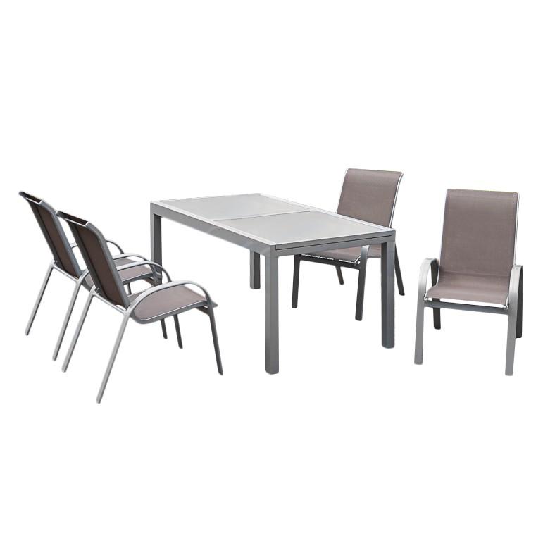 Gartenessgruppe Amalfi IV (5-teilig) - Aluminium - Taupe, Merxx bei Home24 - Gartenmöbel
